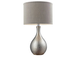 "22"" Hammered Chrome Table Lamp in Chrome, Led"