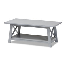 Modern And Temporary Light Grey Finished Wood Coffee Table