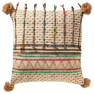 Global Fusion Cushion, Stripe, Pom Pom, Cover Only