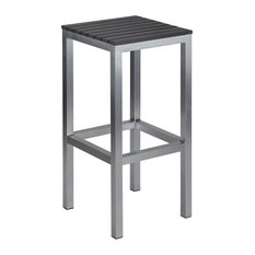 Haven Aluminum Outdoor Backless Barstool, Slate Gray Poly Wood, Brushed Nickel