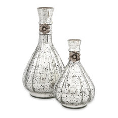 Gabrielle Antique Silver Rustic Glass Bottles Set of 2 Vase Decor