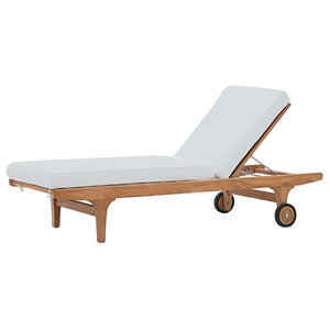 Patio Teak Chaise Lounge, Natural and White - Transitional ... on teak wood lounge chair, teak sling chaise lounge, double patio lounge chair, teak cocktail table, teak dining chair, teak pool lounge chairs, teak vanity chair, teak bentwood lounge chair, teak dining set, teak recliner chair, teak club chair, teak chaise lounge with cushion, teak steamer lounge chair, teak barcelona chair, teak outdoor chaise, teak double chaise lounge, teak ottomans chair, teak outdoor lounge chairs, teak chase lounge, teak leather chair,