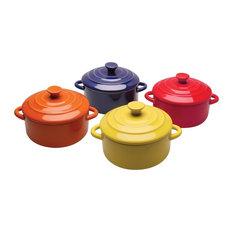 Multi Colored Mini Casserole Pots, Set of 4, 8-ounce Stoneware Dishes
