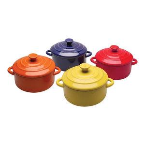 Multi Colored Mini Casserole Pots - Set of 4 - 8-ounce Stoneware Dishes