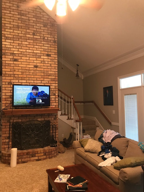The Negative With Putting Tv There Is It More Difficult To View When On Other Side Of Room Ideas Please Also Throw In Any Update Fireplace