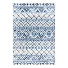 "Moroccan HYPE Boho Vintage Cream and Blue Area Rug, 5'3""x7'7"""