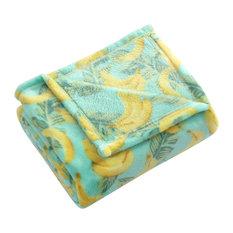 "MHF Home Tropical Plush Throw Blanket 50"" x 60"", Yellow"