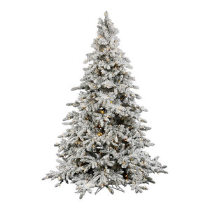 4.5' Flocked Utica Fir Artificial Christmas Tree, 250 Warm White LED Lights