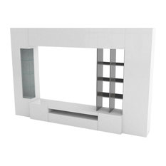 "Egypt ""C"" 5-Piece Wall Unit, White and Dark Grey"