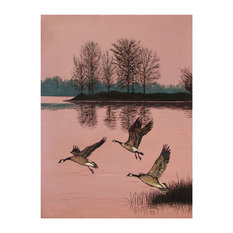 """Mike Bennett Trio of Canadian Geese Art Print, 9""""x12"""""""