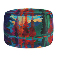 """Colorado Sunset Pouf Chair Foot Stool, Round 20""""x14"""""""