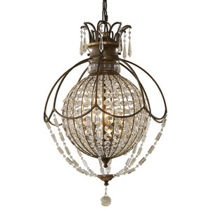 3-Light Chandelier, Oxidized Bronze