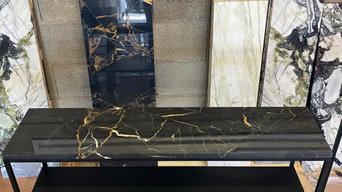 Console avec étagère en marbre Portor Gold