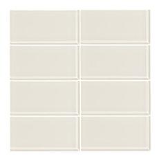 "3""x6"" Cream Glass Subway Tile, Set of 8"