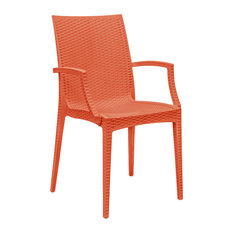 LeisureMod Weave Mace Indoor Outdoor Patio Dining Armchairs, Orange