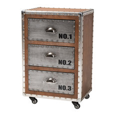 Naomi French Industrial Brown Wood And Silver Metal 3-Drawer Rolling Nightstand