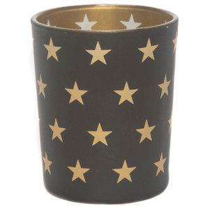 Votive Gold Finish Black Candleholders in Star Pattern