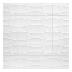 SomerTile Nova Arrow Decor Ceramic Wall Tile, Blanco Arrow, Case of 10