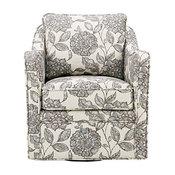 Madison Park Slub Weave Wide Seat Swivel Arm Chair With Multi Finish MP103-0241