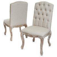 GDF Studio Jolie Linen Dining Chairs, Beige, Set of 2
