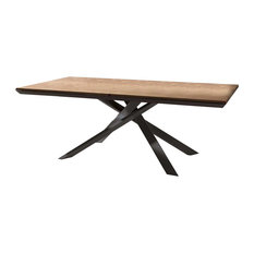Quadron Rectangular Dining Table, Extendable, Antic Oakwood With Metal Base