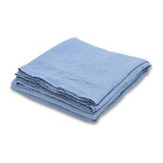 Stone Washed Bed Linen Flat Sheet, Stone Blue, King