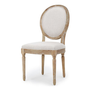 GDF Studio Hawthorne Fabric Dining Chairs, Griege/Natural, Set of 2
