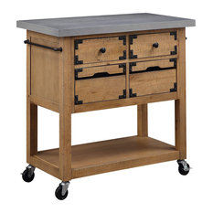 Kitchen Island Cement Grey Top And Rustic Natural Finished Body