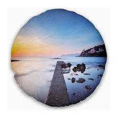 "Castiglioncello Bay Concrete Pier Seascape Throw Pillow, 20"" Round"