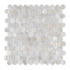 SomerTile Conchella Penny Mosaic Wall Tile, White