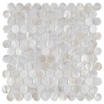 """SomerTile - SomerTile Conchella Penny 11.25"""" x 1.63"""" Seashell Mosaic Tile, White - Capturing the lustrous beauty of natural seashells, our Conchella Penny White 11-1/4 in. x 11-5/8 in. Natural Seashell Mosaic Wall Tile emulates seaside-inspired tranquility. Featuring an exquisite blend of beautifully iridescent penny shaped chips that are constructed of natural seashells, this mosaic wall tile illuminates any space. Soft white and beige tones infuses this tile with elegance and natural charm. Smooth, glossy penny rounds are precisely arranged on an interlocking mesh to create a seamless installation. This minimalistic geometric porcelain mosaic is unique yet simplistic enough to integrate into any design, ranging from traditional style renovations to modern home projects. Its impervious and frost resistant features make this mosaic an ideal choice for both indoor and outdoor wall installations including, kitchen backsplashes, bathroom showers and fireplace facades. This tile is a perfect choice on its own or paired with other products in the Conchella Collection. Tile is the better choice for your space. This tile is made from natural ingredients, making it a healthy choice as it is free from allergens, VOCs, formaldehyde and PVC."""