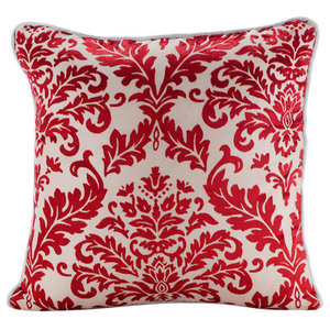 Red Burnout Velvet 35x35 Red Damask Pattern Cushions Cover, Cayenne Red Damask
