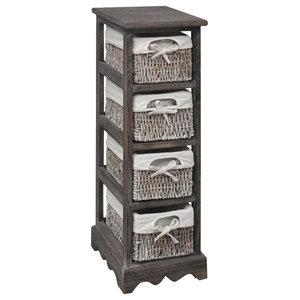 VidaXL Brown Wooden Storage Rack 4 Weaving Baskets