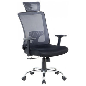 Noble Swivel Office Chair, Black And Grey