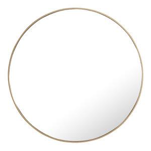 """42"""" Round Metal Frame Mirror, Brass"""