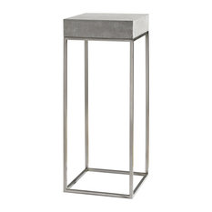 Modern Silver Concrete Top Pedestal Table, Plant Stand Square Gray Industrial