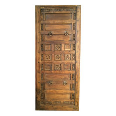 Mogul Interior - Consigned Antique Indian Floral Carved Panels Teak Headboard chakra headboard - Accent Chests And Cabinets