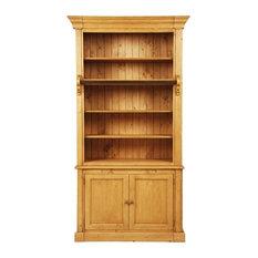 Natural 2-Door Bookshelf, Waxed Natural