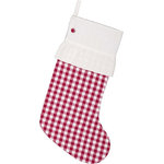 "VHC Brands - Emmie Red Check 20""x12"" Stocking - Countrify your Christmas this year with the 12x20 Emmie Red Check Stocking. A bright white cuff and ruffle is paired with a base of holly berry red. A matching button is added to the cuff and helps tie the look together. This perfect mantel decor includes a hanging loop. 100% cotton shell with flannel and taffeta lining."