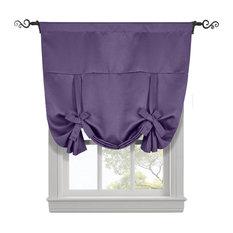 "Ava Blackout Curtains Rod Pocket Tie Up Shade, Purple, 46""x63"""