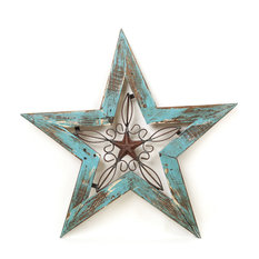 Mexican Imports Wood And Iron Texas Star Turquoise Wall Decor
