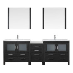 "90"" Double Bathroom Vanity,Zebra Grey,Slim White Top,Square Sink,Faucet,Mirrors"