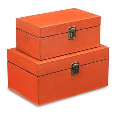 Wooden Keepsake Boxes, Set of 2, Red