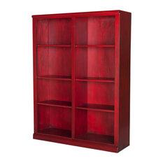 """Eagle Furniture 60"""" Tall Double Wide Coastal Bookcase, White"""