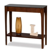 Bowery Hill Glass Top Console Table in Chestnut