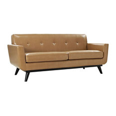 Griffon Bonded Leather Love Seat/Tan
