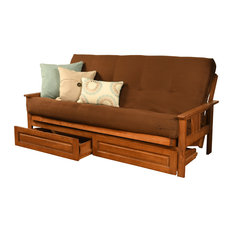 Caleb Frame Futon With Barbados Finish, Storage Drawers, Suede Brown