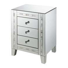 3 Drawer Beveled Mirrored Nightstand With Pearl Inlay Silver