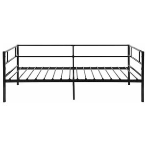 Contemporary Single Day Bed With Solid Metal Frame With 3-Railed Side