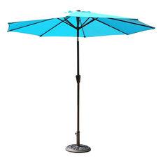 Belleze   9u0027 Steel Outdoor Patio Umbrella With Crank Tilt, Turquoise    Outdoor Umbrellas